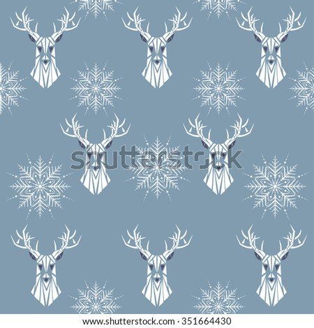 Winter seamless pattern with drawn deer and snowflakes. Holiday design, animal print. Great for Christmas card, fabric, web page background, wrapping paper, scrapbook, elements for design, etc. Vector - stock vector