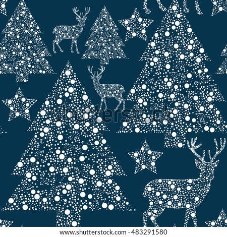 Winter seamless pattern with New Year tree and deer.Textile texture.Vector background