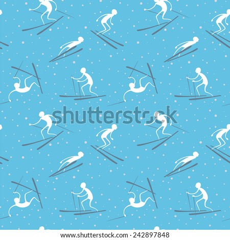 Winter seamless pattern with skiers. - stock vector
