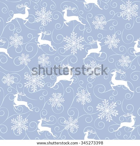 Winter seamless pattern with white reindeers and snowflakes on blue background. - stock vector