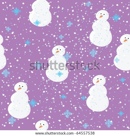 Winter seamless vector background with snowan - stock vector