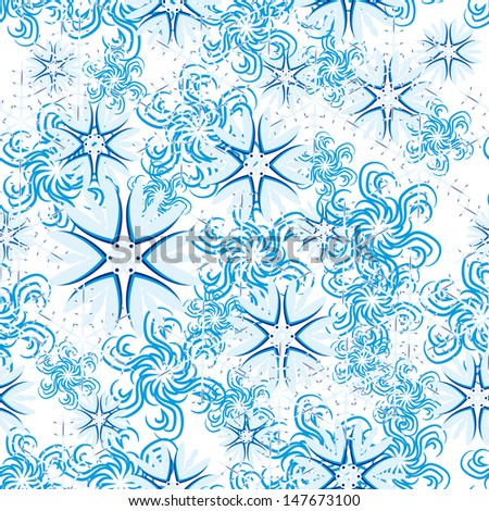 winter seamless with abstract vector snowflakes on blue background - stock vector
