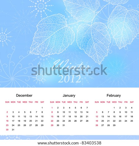 Winter season calendar page of new  2012 year  with background an text  (vector eps 10) - stock vector