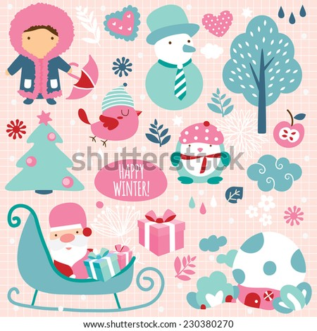 winter season clip art elements - stock vector