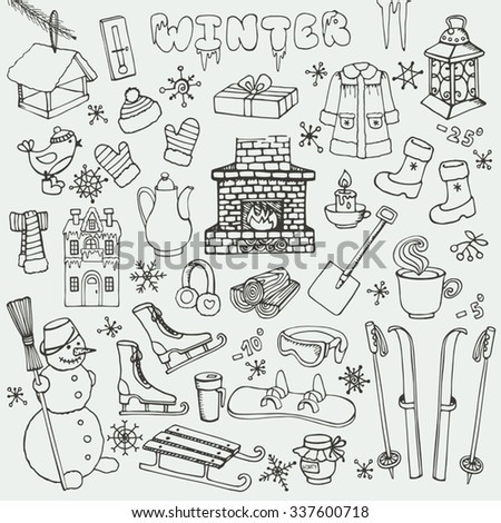 Winter season doodle set.Christmas symbols,Knitted wear,winter sports,snowflakes,birds,snowman,fireplace and other new year decoration elements.Hand drawn vector,linear isolated over white background. - stock vector