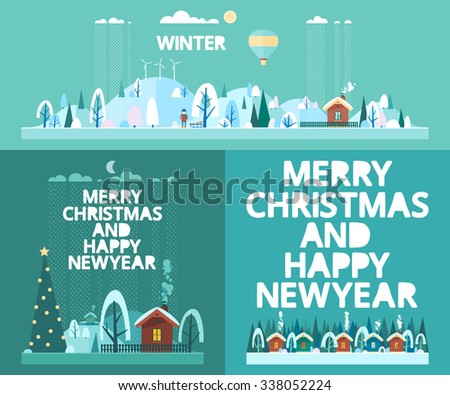 Winter set - winter landscape, holiday village. Flat style - stock vector
