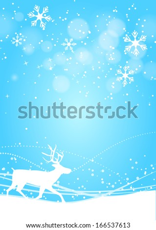 Winter shine blue background with deer
