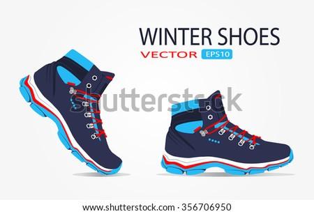 winter shoes. vector - stock vector