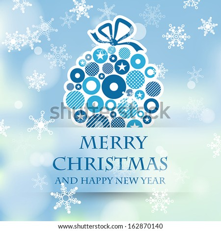 winter sky with blue dotted ball. christmas concept