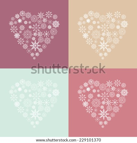 winter snow hearts - stock vector