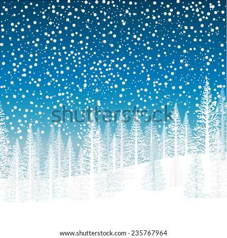 Winter snowfall over trees on a hillside - stock vector