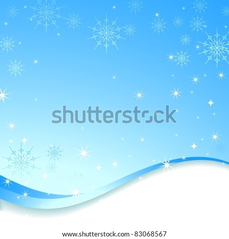 Winter snowflakes and abstract waves frame light-blue composition. Vector illustration.