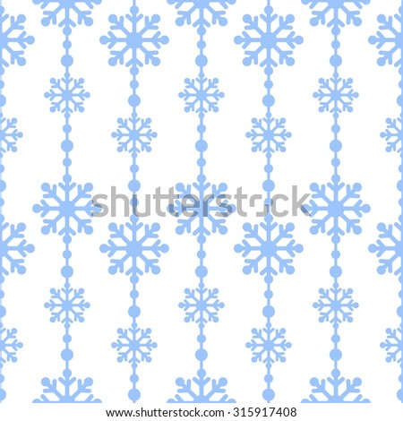 Winter snowflakes blue on a white background vector seamless pattern. Christmas background - stock vector