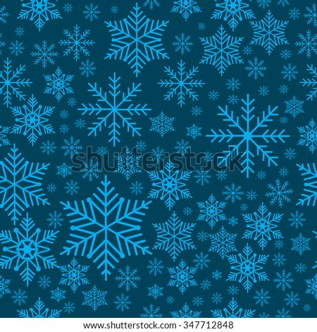 Winter snowflakes seamless background pattern. Vector illustration