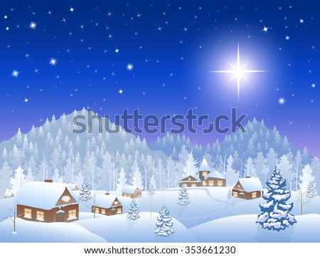 winter snowing village, forest with firs,  mountains on the horizon, big christmas star in  sky, vector illustration - stock vector