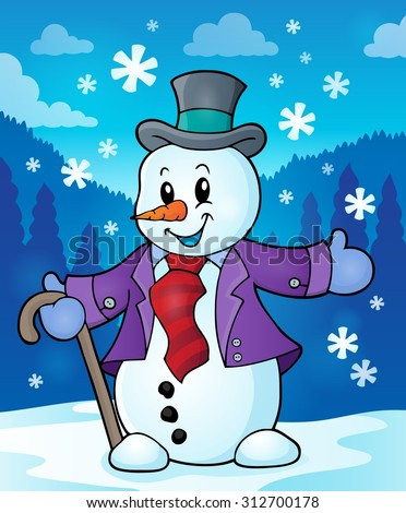 Winter snowman topic image 2 - eps10 vector illustration. - stock vector