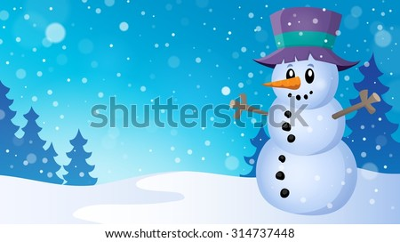 Winter snowman topic image 5 - eps10 vector illustration.