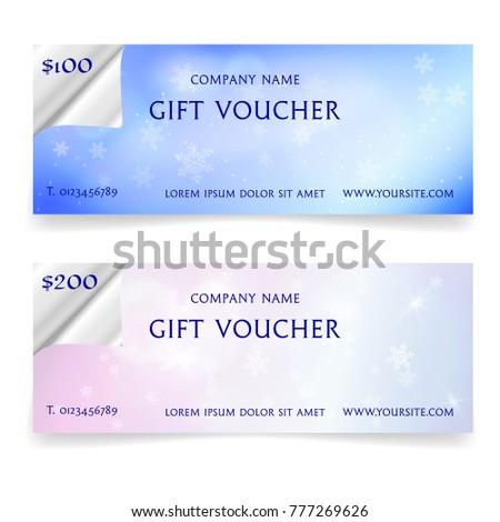 Winter snowy gift voucher template realistic stock vector winter snowy gift voucher template with realistic torn paper borders snowflakes and lights effects yadclub Gallery