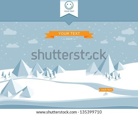 winter snowy landscape of vector - stock vector