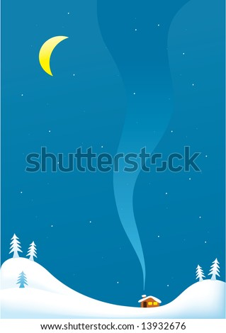 Winter snowy  landscape with moon and house  background
