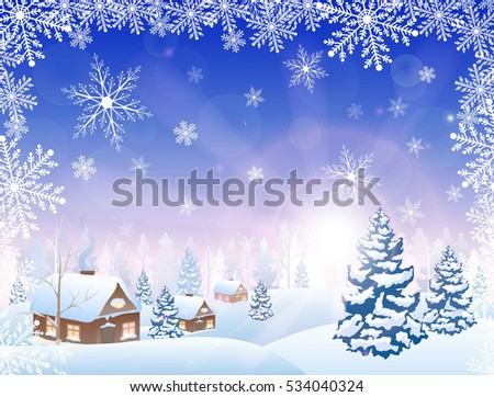 winter snowy village and forest scenery  on horizon, sun, and frame from snowflakes, vector illustration