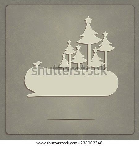 Winter speech bubble with a bird and Christmas trees. - stock vector