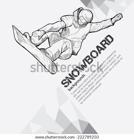 winter sport background, snowboarding - stock vector