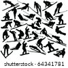 Winter sport collection silhouettes - vector - stock