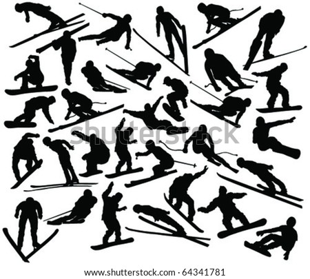 Winter sport collection silhouettes - vector - stock vector