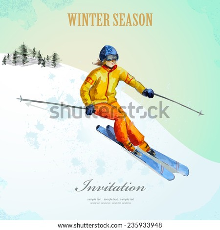 Winter sport. fashion girl skier. watercolor. vintage poster for your design. - stock vector