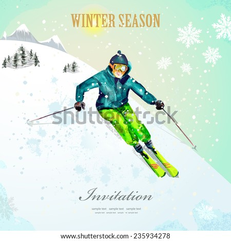 Winter sport. girl skiing at ski resort. watercolor. vintage poster for your design. - stock vector