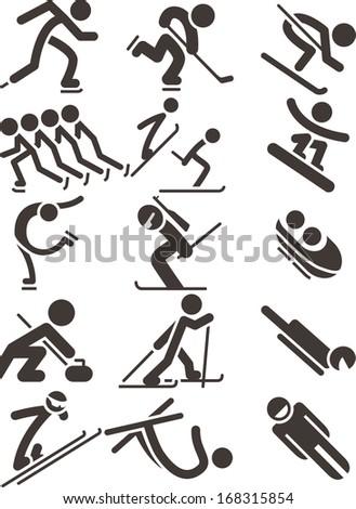 Winter sport icons 2014 - stock vector