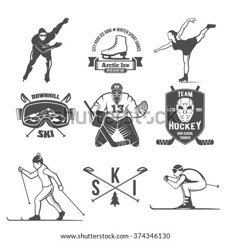 Winter sport label logo design. Old school sport logotypes. Monochrome badges. - stock vector