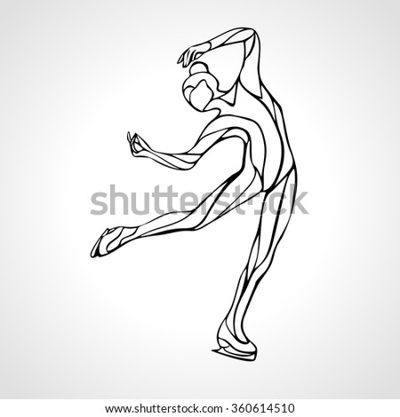 Winter sport. Ladies figure skating lineart silhouette. Ice show. Vector illustration - stock vector