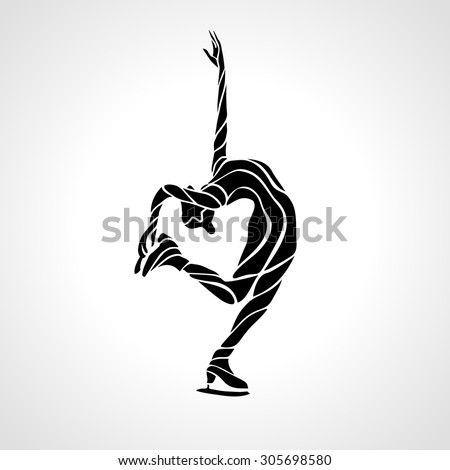 Winter sport. Ladies figure skating silhouette.  Ice show. Vector illustration - stock vector