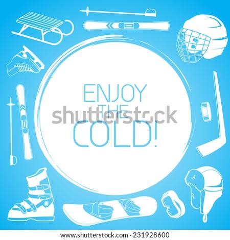 Winter sports background sticker design elements eps 10 vector illustration