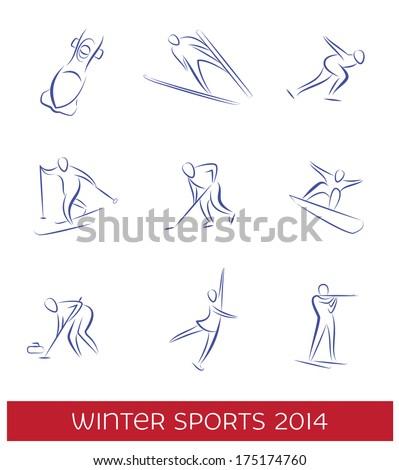 Winter sports icon set. EPS 8 vector. - stock vector