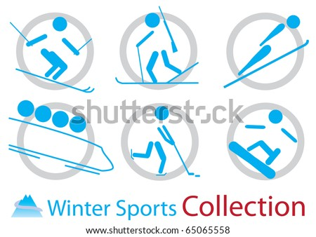 Winter sports icons collection - stock vector