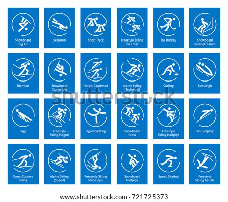 Winter sports icons set, vector pictograms for web, print and other projects. All olympic species of events.