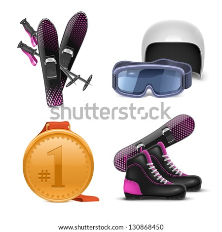 winter sports vector icon set - stock vector