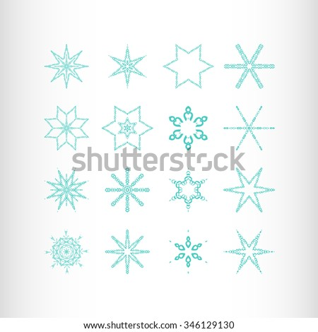 Winter stars and snowflakes for creation of New Year's artistic compositions, postcards, posters, backdrops. Set of 16 items. - stock vector