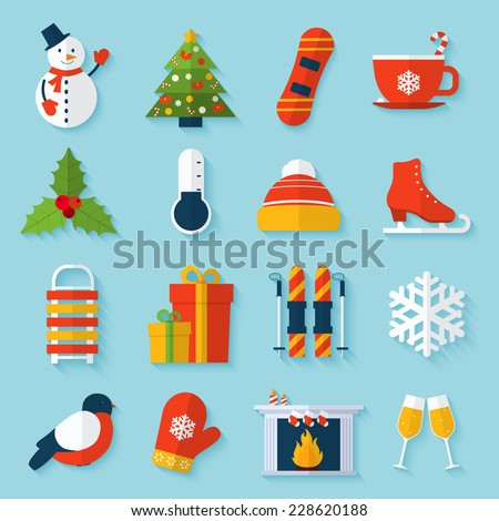 Winter stickers set with snowman christmas tree snowboard cup isolated vector illustration. - stock vector