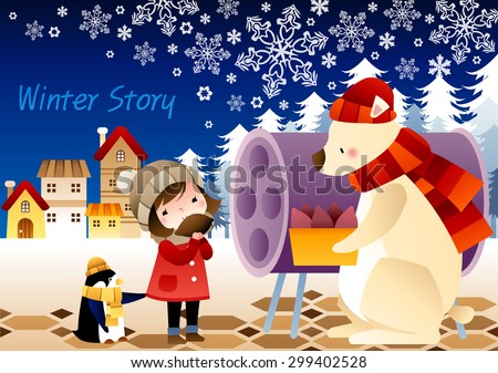 Winter Story - lovely young girl standing by purple round metal drum can and eating tasty roasted hot potato with cute pet penguin on a background of blue sky with floral pattern : illustration - stock vector