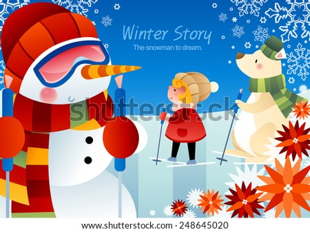 Winter Story with cute little friends on a background with beautiful blue sky and ice world : vector illustration - stock vector