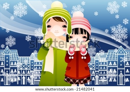 Winter Story with lovely young girl and cute boy on background with beautiful blue sky : vector illustration - stock vector