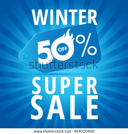 Winter super sale background with blue realistic tag 50% off vector banner. Winter super sale