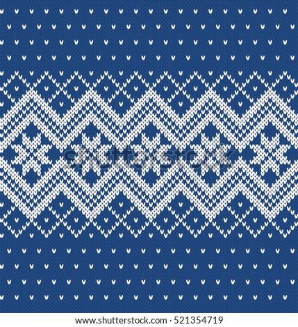 Winter Sweater Design Seamless Knitting Pattern Stock Photo Photo