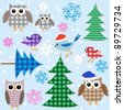 Winter textile stickers. Vector set. - stock vector