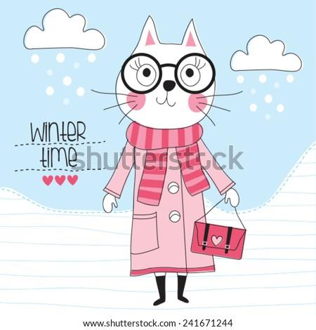 winter time cat in coat vector illustration - stock vector