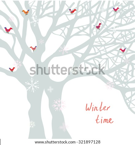 Winter time Christmas card with tree and birds - vector illustration